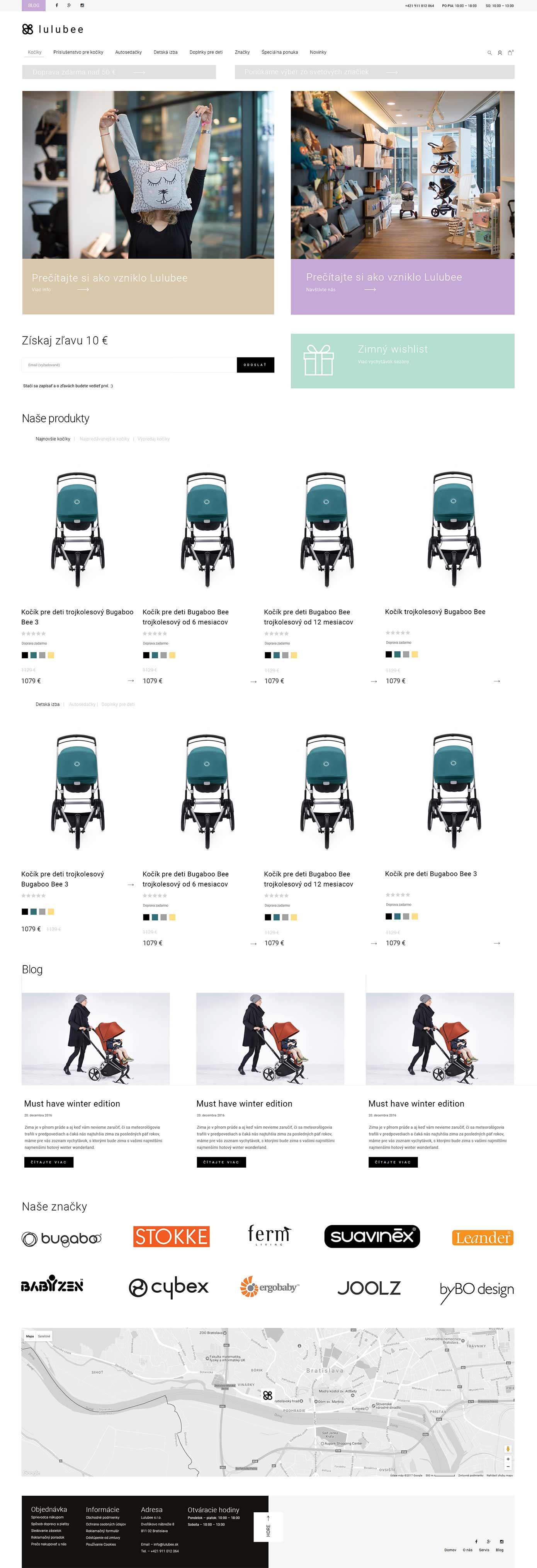 Dizajn hlavnej stránky Lulubee