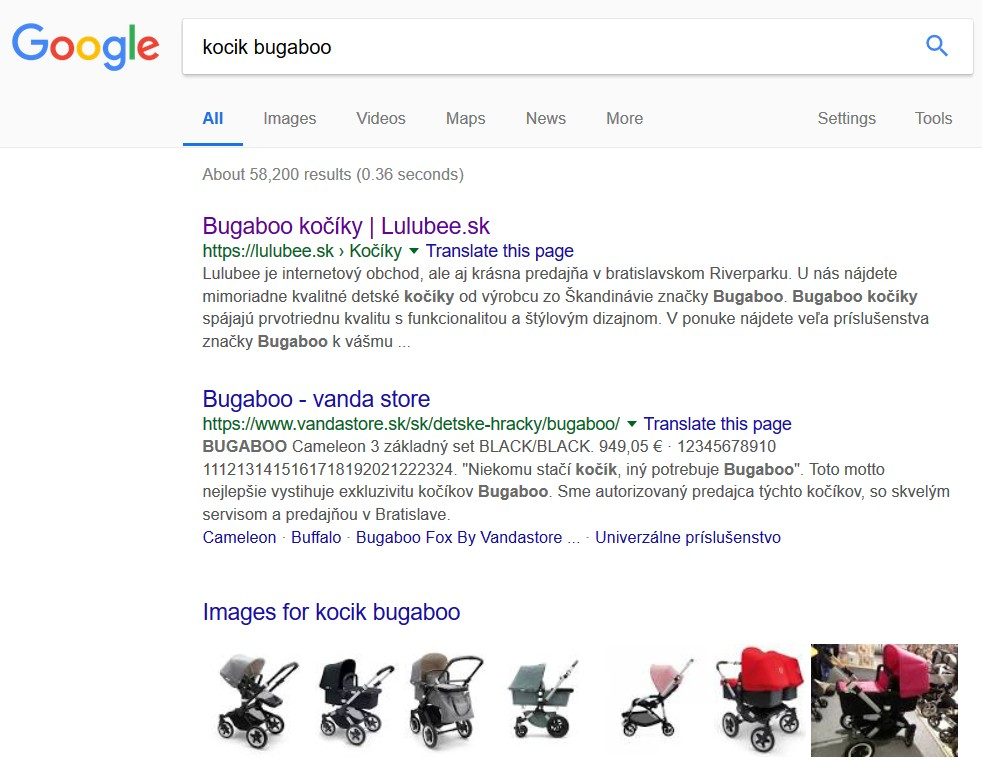 Obrázky vo výsledkoch vyhľadávania