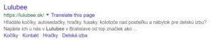 Meta description Lulubee.sk.