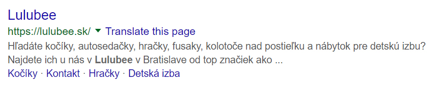 Meta description Lulubee.sk