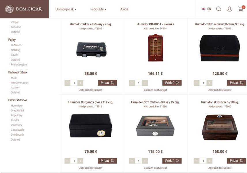 E-shop na mieru pre Domcigar.sk
