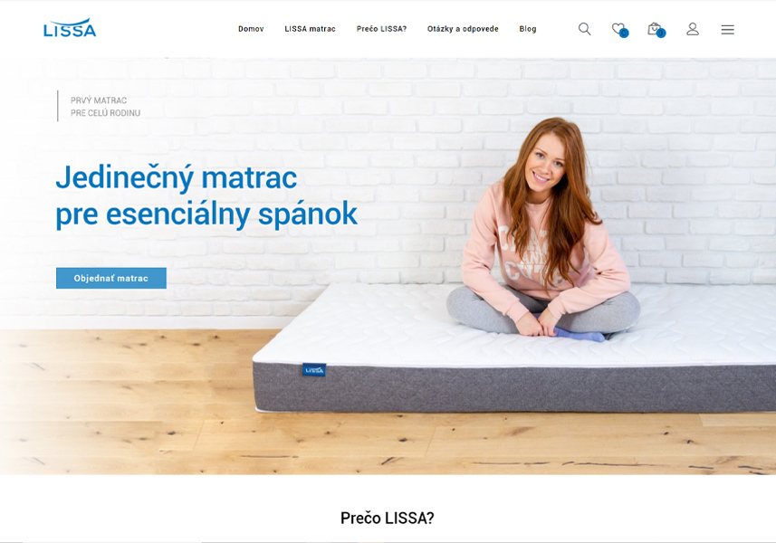 Webstránka s nákupným procesom viacakomatrac.sk